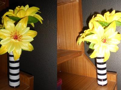 DIY flower vase | recycle empty powder bottle
