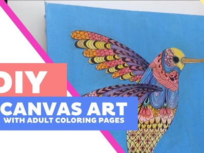 DIY Hummingbird Canvas Art with Adult Coloring Pages