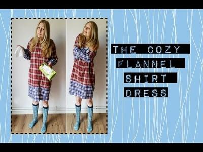 DIY upcycled flannel shirt dress refashion tutorial