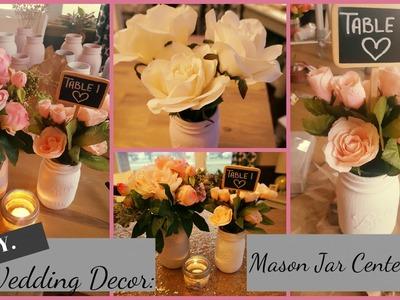 DIY Wedding.Bridal Shower.Baby Shower Centerpiece - Distressed Chalked Mason Jars