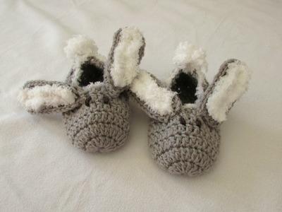 How to crochet children's bunny slippers. booties for beginners