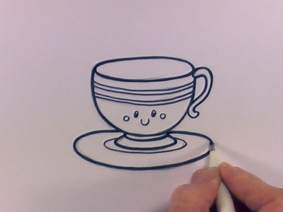 How to Draw a Cartoon Tea Cup and Saucer