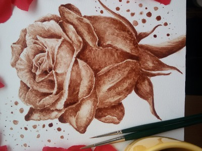 How to draw a rose with coffee speed drawing coffee painting