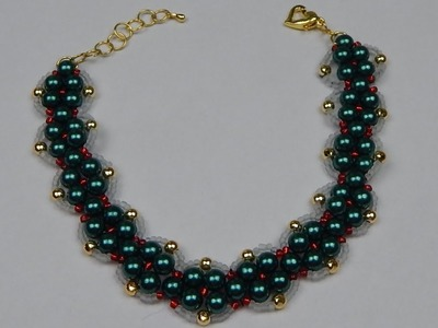 How to make a beaded pearl bracelet beading jewelry DIY (tutorial + free pattern)