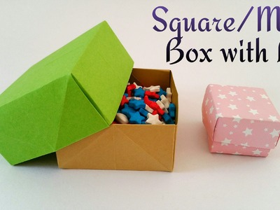 "How to make a easy Paper ""Square. Masu. Gift box with Lid""  - Useful Origami tutorial"