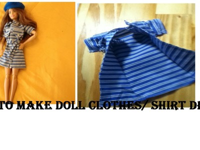 How to make Barbie doll clothes.shirt dress (easy doll craft)
