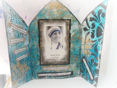 #IC-Woman's history month video hop. Mother Teresa of Calcutta. How to make a mixed media Triptych