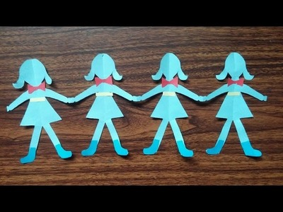 Paper dolls for kids. How to make paper dolls chain.