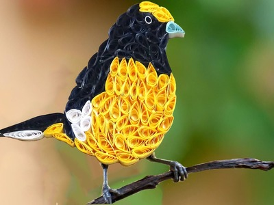 Paper Quilling; How to make Beautiful Yellow Bird design using Paper Art Quilling -QuillingMade Easy