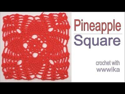 Pineapple Lace crochet Square part 2  Free pattern tutorial by wwwika