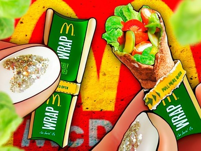 Realistic Miniature McDonald's Crispy Chicken Snack WRAP Tutorial! | DollHouse DIY ♥