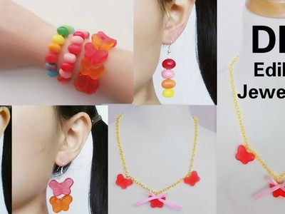 3 DIY Edible Jewelries: DIY Gummy Earing&Necklace+Jelly Beans Bracelace&Earing+CandyClub Unboxing