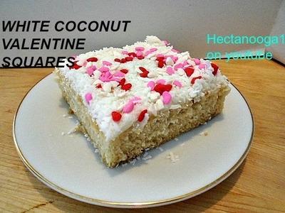 Coconut Valentine Squares, vegan recipe, 7 ingredient cake, Easy minimalist baking.