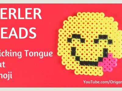 DIY Perler Beads Emoji Tutorial EASY - Smile with Tongue Sticking Out - Kids Crafts