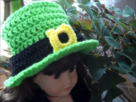 How to Crochet a St. Patrick's Day Doll Hat - Lucky Crochet Top Hat