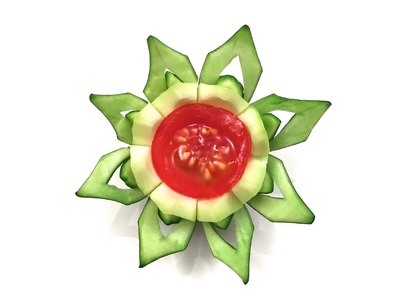 How to Make a Flower with a Zucchini and a Cherry Tomato (HD)