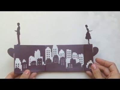 Long Distance Love Story Pop Up Card Tutorial, Valentine's Day Kirigami | Free Pattern