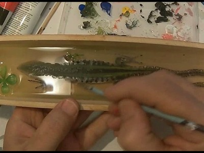 3D goldfish Painting a Lizard in Clear Resins