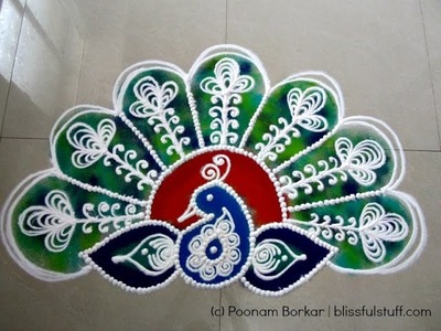 Beautiful Peacock Rangoli, How to draw Sanskar bharati peacock rangoli design