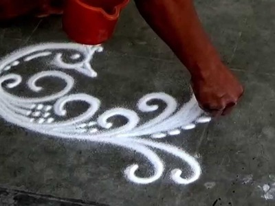 Beautiful Peacock Rangoli How to draw sanskar Bharati Rangoli Diwali Special Rangoli Design