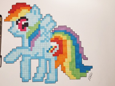 How to draw Little Pony (Rainbow Dash) with Pixels
