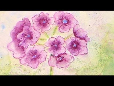 How to Paint a Purple Geranium flower in Watercolor Pencils