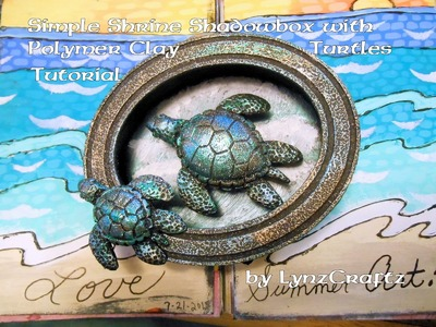 Simple Assemblage Shrine Shadowbox with Polymer Clay Turtles