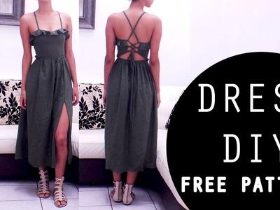 Vestido midi abertura delantera    middi dress front slit    FREE PATTERN