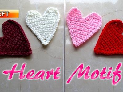 Crochet Heart Motif Applique - Left Handed Crochet Tutorial