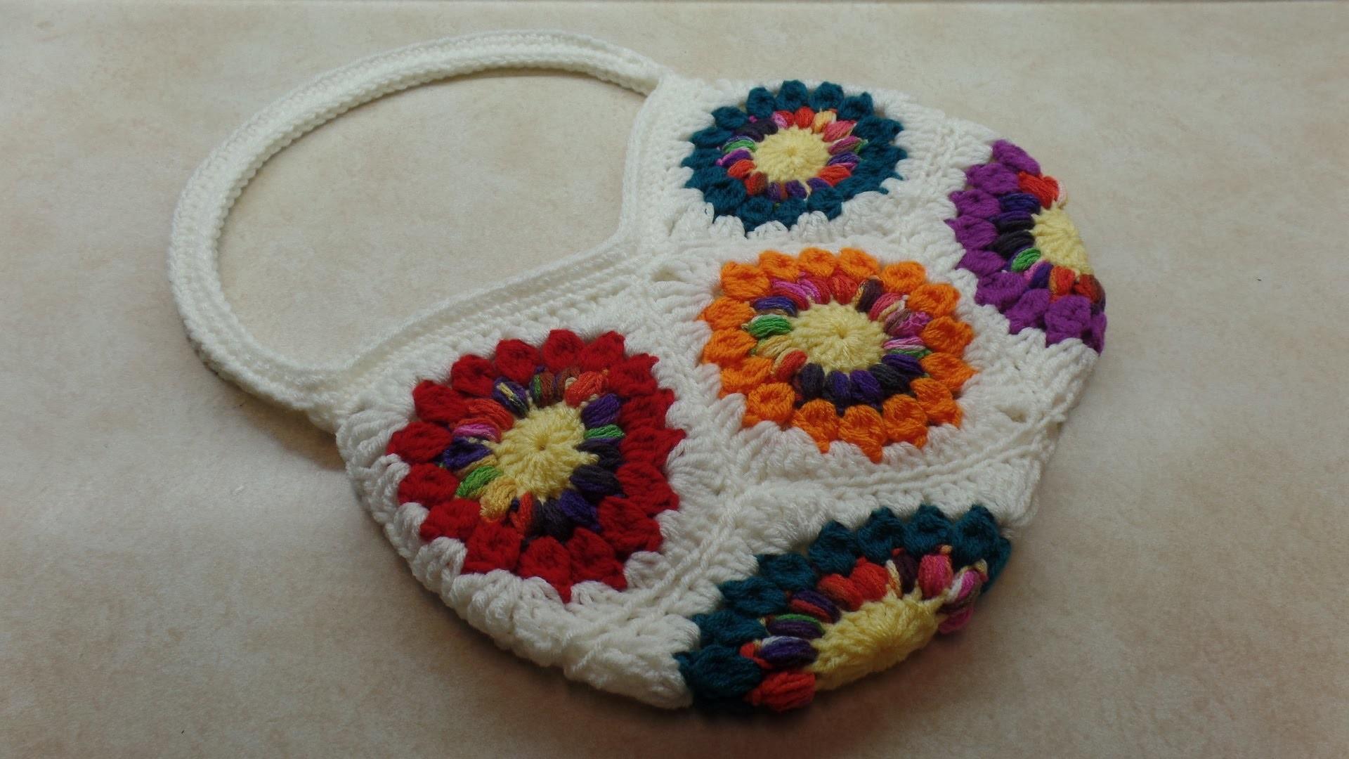 How To #Crochet 8 Granny Square Handbag Purse #TUTORIAL #306