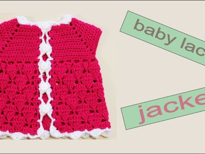 How to crochet a  baby lace jacket (size 0-3 months)  by WWWIKA CROCHET #baby_crochet
