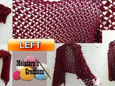 Offset shell crochet shawl - Left Handed Crochet Tutorial