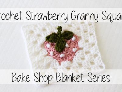 Crochet Strawberry Granny Square | Bake Shop Blanket Square | Sewrella