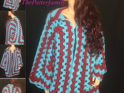 How to Crochet a Granny Hexagon Sweater Pattern #16 │by ThePatterfamily