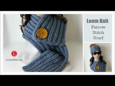 LOOM KNITTING Farrow Rib Stitch Scarf Pattern Project