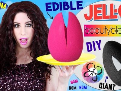 DIY EDIBLE Jello Beauty Blender | EAT A GIANT Jello Pudding Beauty Blender | EATABLE Makeup Sponges!