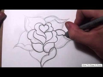 How To Draw a Simple Rose Design With a Heart | How to draw a Rose