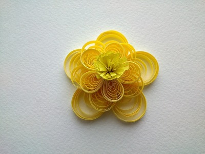 Quilling Flowers Tutorial: make a yellow  beautiful Quilling flower. Paper art Quilling.