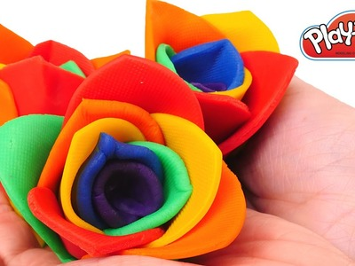 DIY Roses - How To Make Play Doh Rainbow Rose Flowers - Playdough videos DCTC