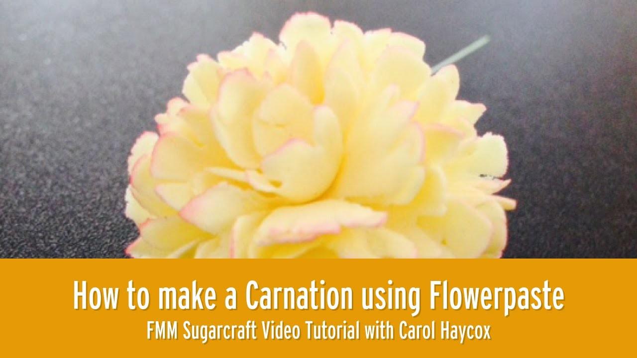 How to make a Carnation using Flowerpaste l FMM Sugarcraft tutorial