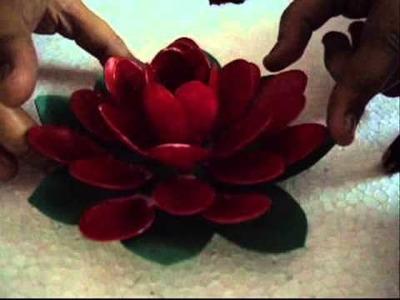 Plastic spoon floating lotus flower