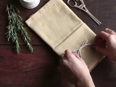 Table Setting Tips: Menu Napkin Folds - Single Pocket Fold