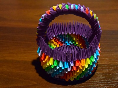 3D origami Rainbow Easter basket for eggs of paper tutorial