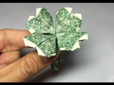 Dollar origami clover (preview), 4 leaf clover, shamrock, heart origami