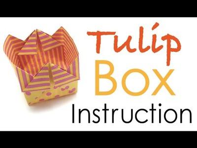 Origami Paper Tulip-shaped Box Instruction - Origami Kawaii