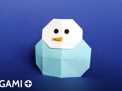 Origami Snowman - Bonhomme de neige, Muñeco de nieve, Boneco de neve, Pupazzo di neve, Schneemann
