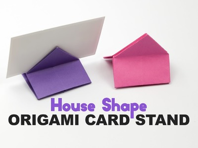 Origami Square. House Shaped Card Stand Tutorial