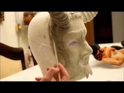 Sculpting a paper mache mask
