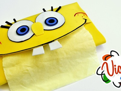 SpongeBob Tissue Paper Holder DIY Arts and Crafts Tutorials for Kids