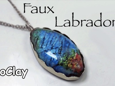 DIY Faux labradorite wrap pendant with silver shaped frame